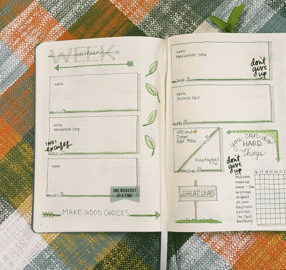 Easy bullet journal weekly page ideas