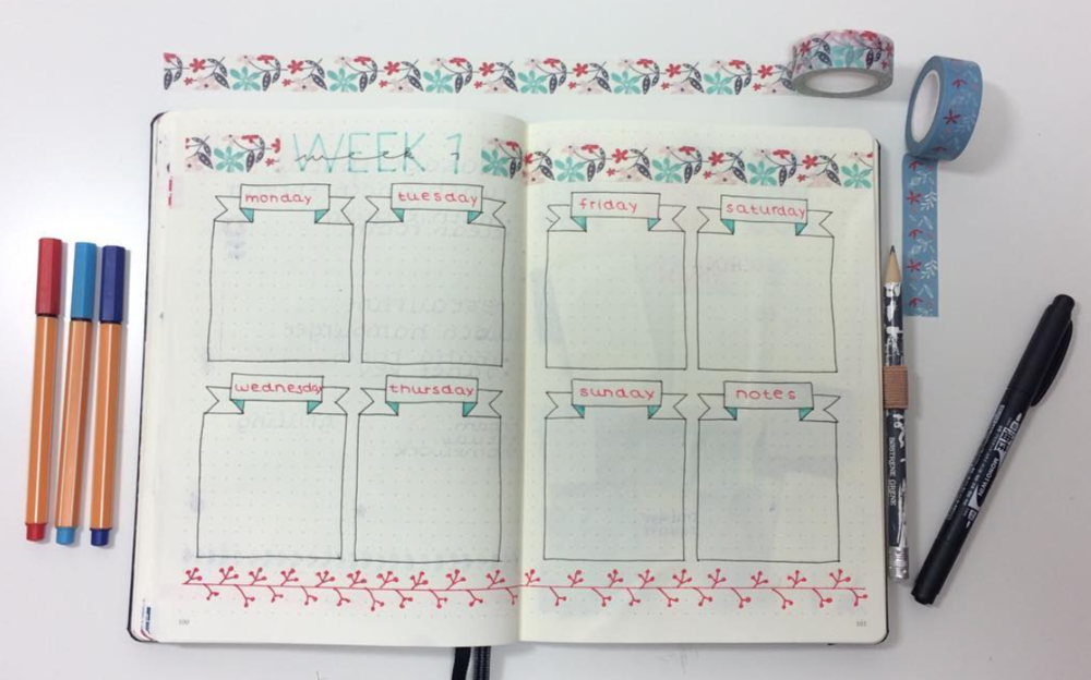 Bullet journal easy weekly page layouts