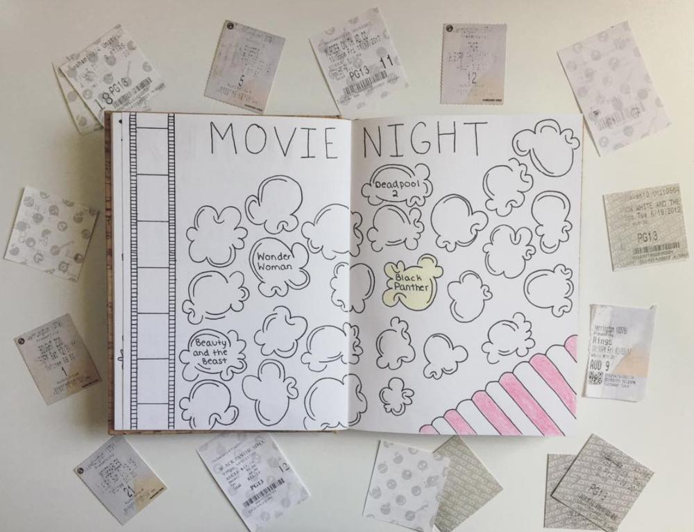 Popcorn Bullet Journal Movie Tracker