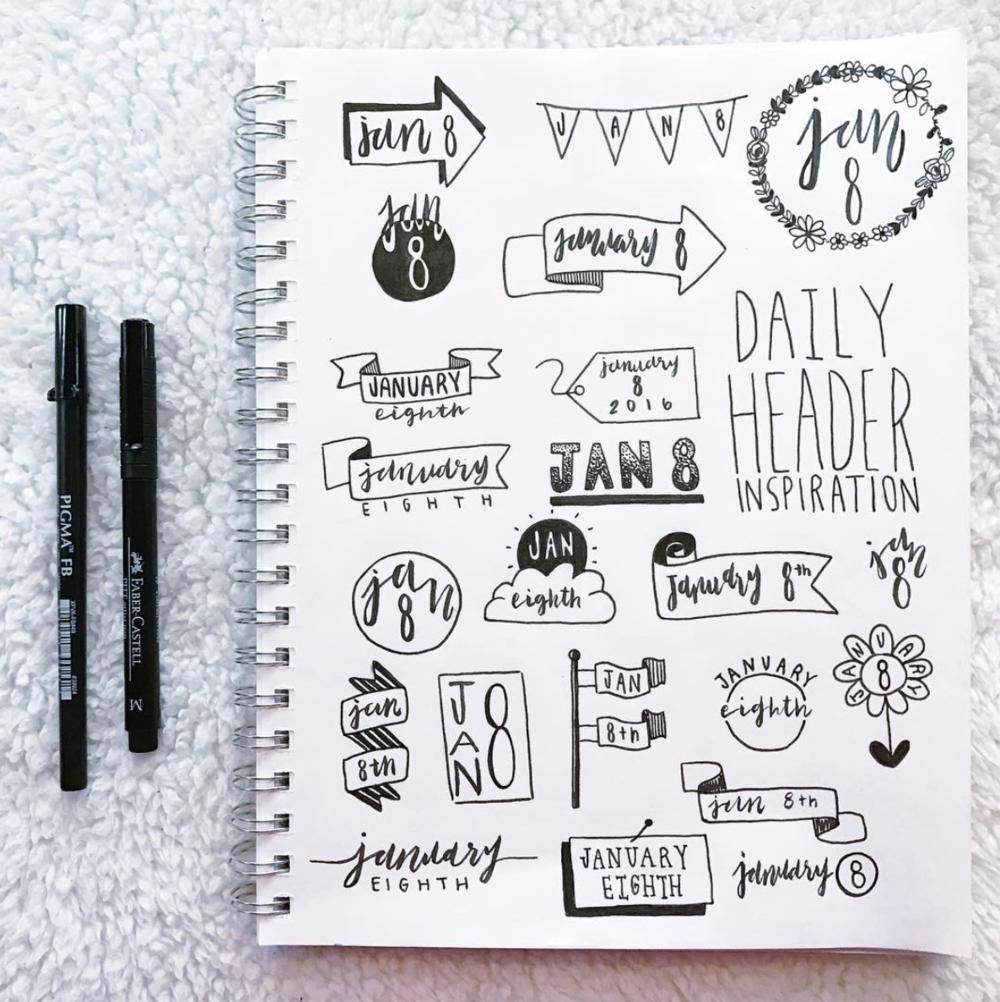 Header Ideas for your Bullet Journal