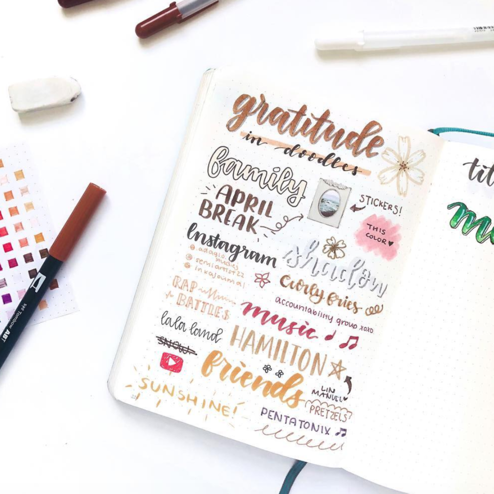 Gratitude Page Inspiration for Your Bullet Journal