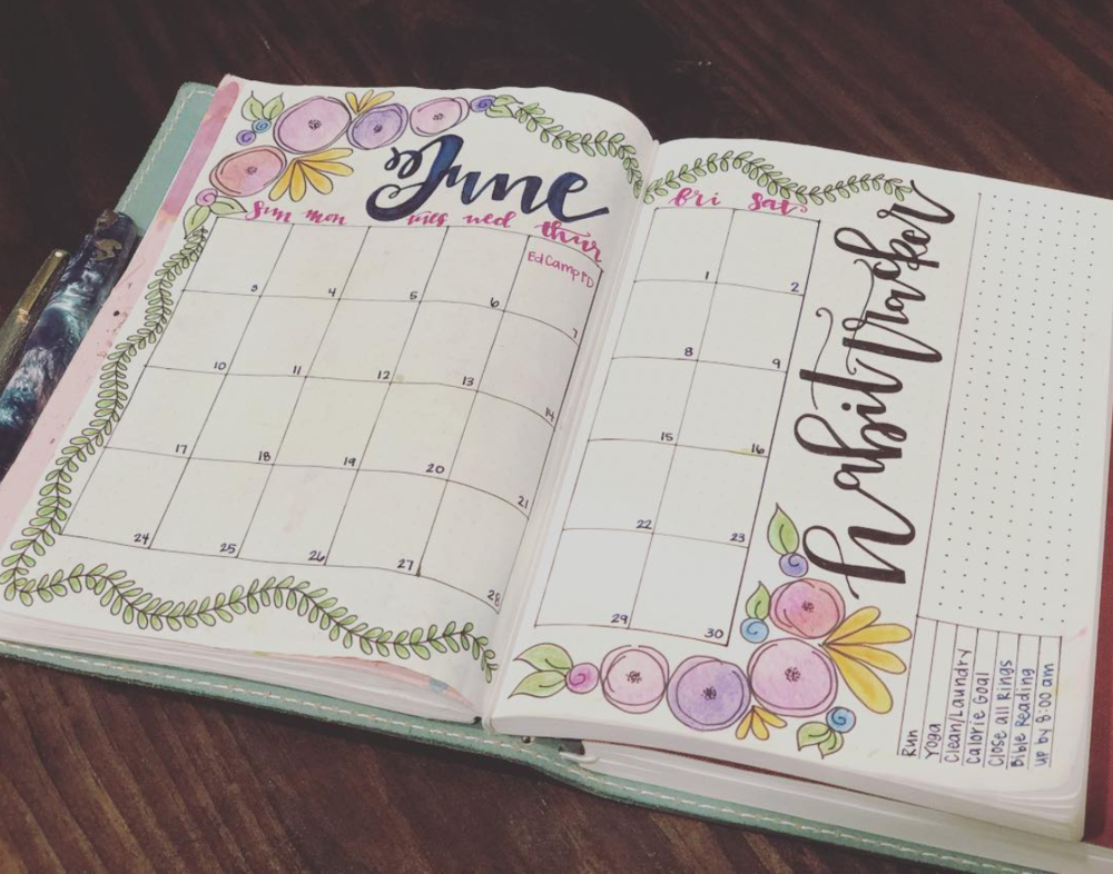 Inspiring June Bullet Journal Spreads