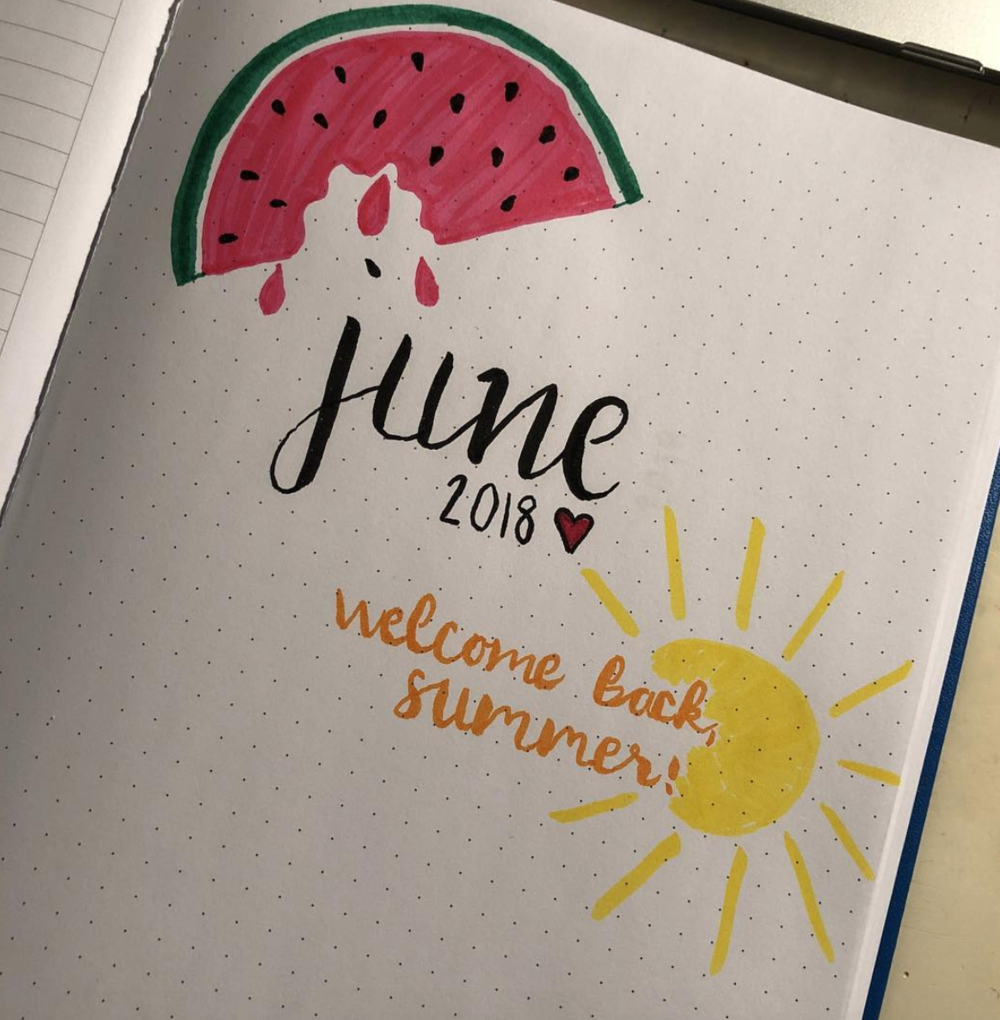 June Bullet Journal Page Spreads