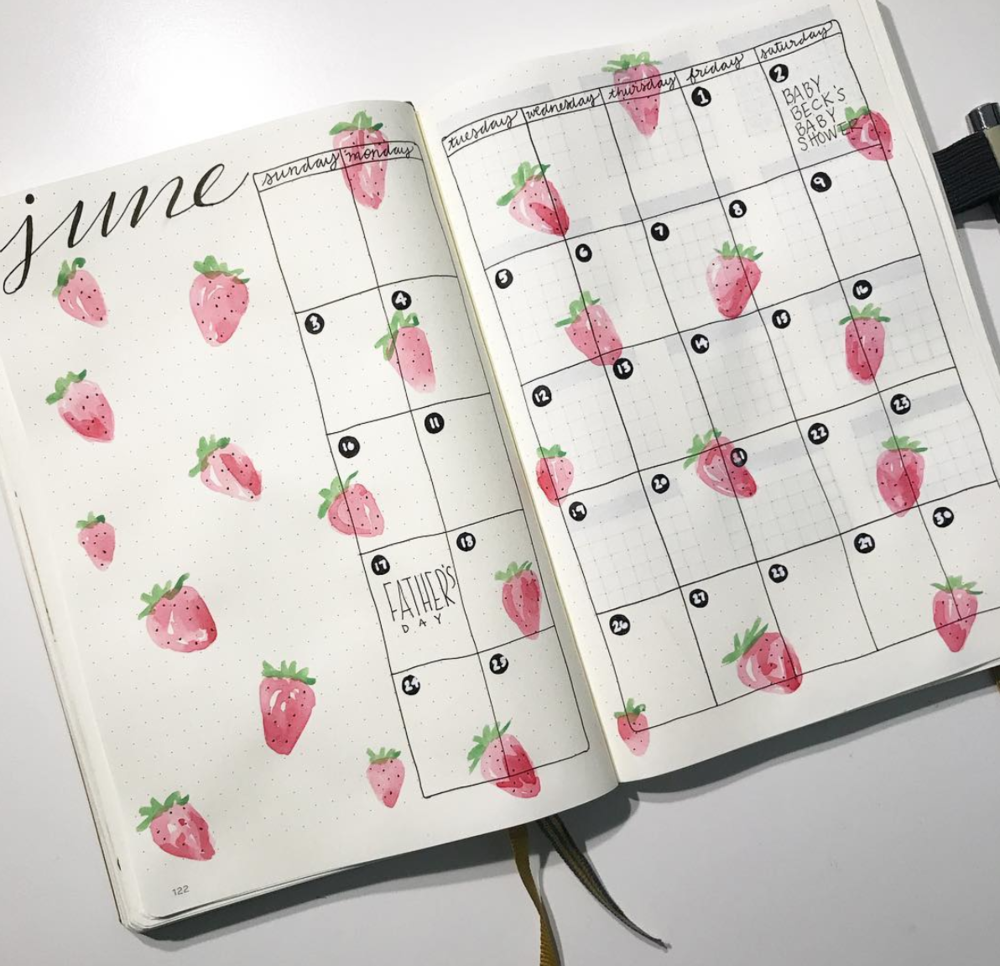 Strawberries and more June Bullet Journal Page Inspiration!
