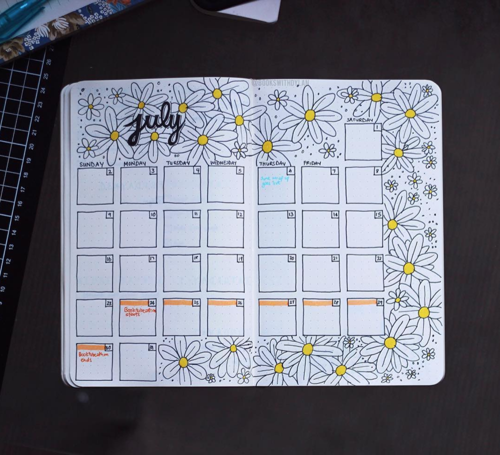 July Bullet Journal Spreads to Try