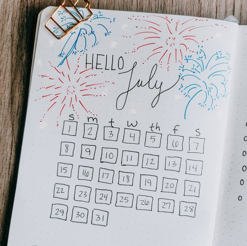 Make July Bullet Journal Pages Special with these Ideas