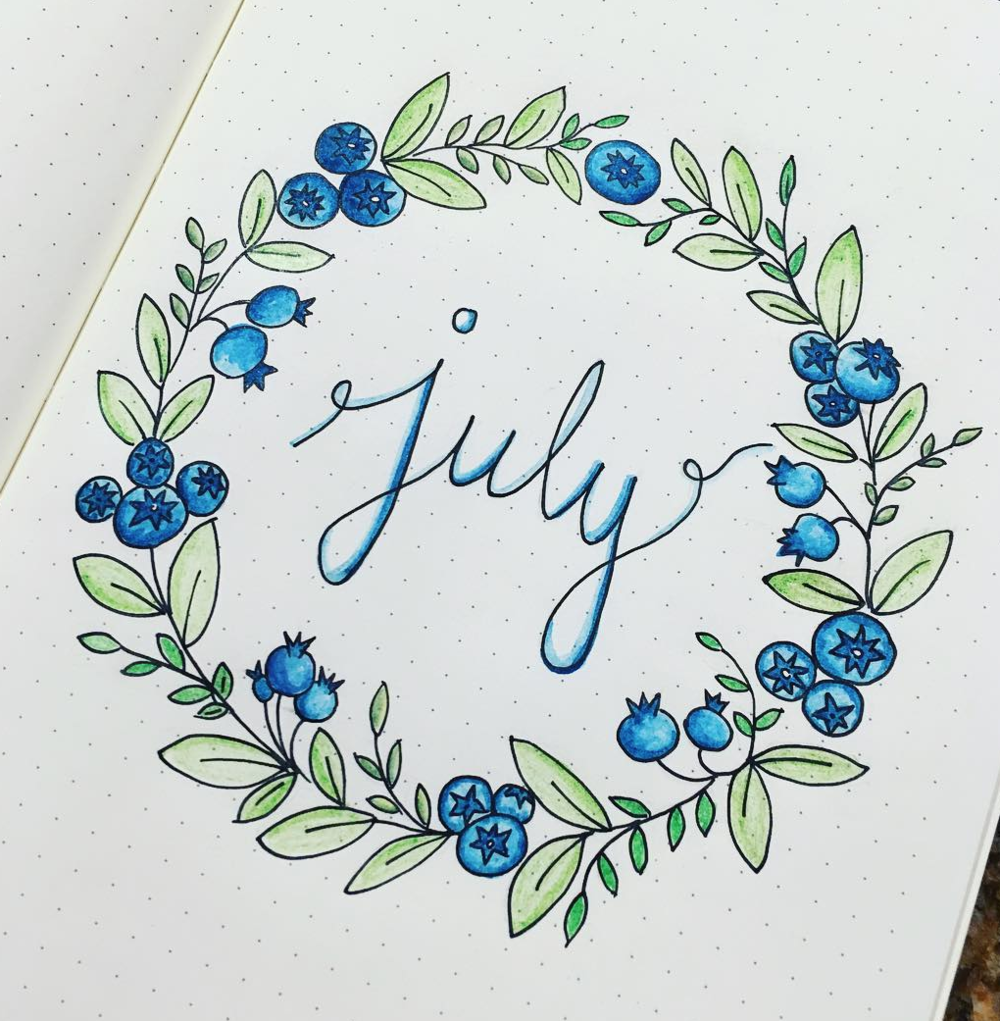 Cover Page Ideas for Your July Bullet Journal