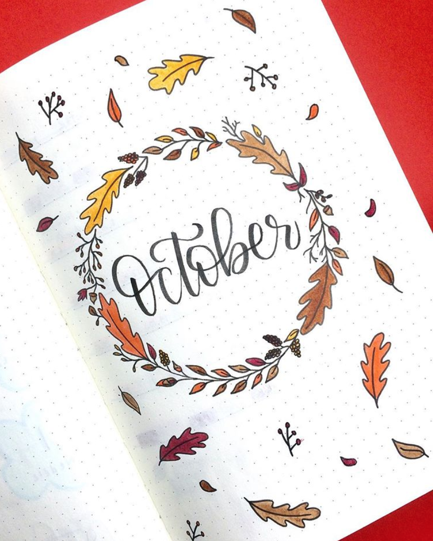Easy October Bullet Journal Cover Pages