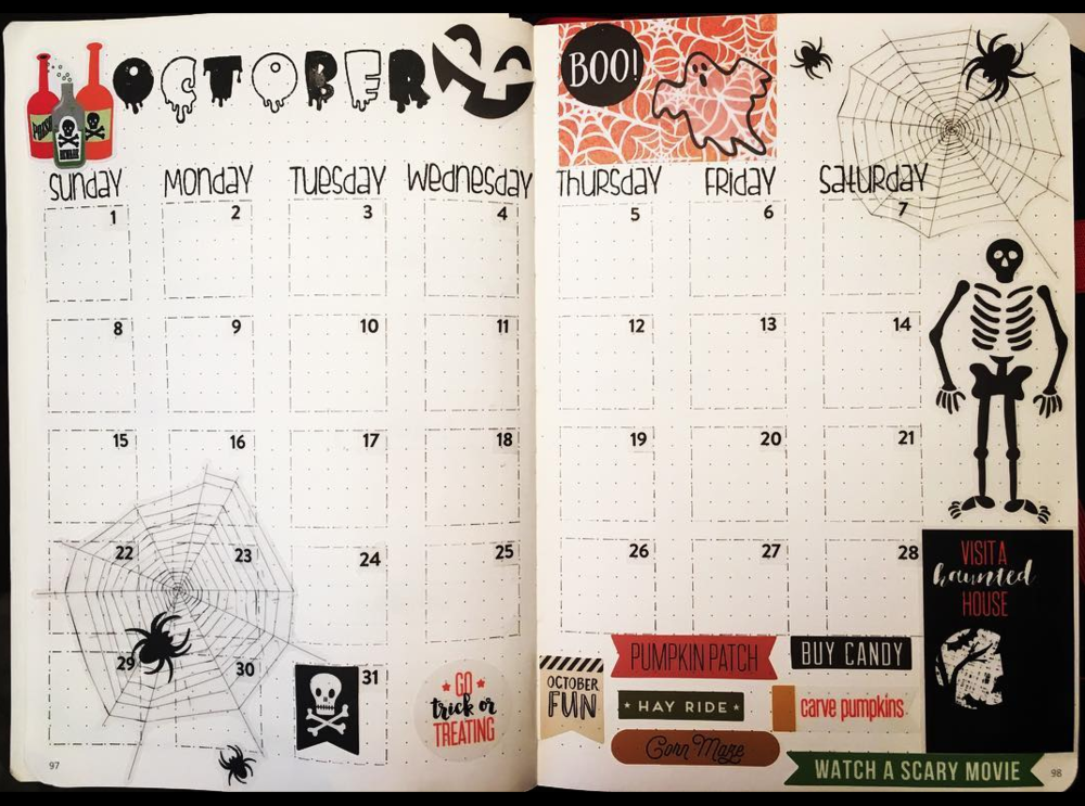Monthly Page Spread Halloween Inspired for October