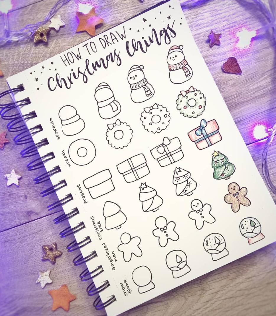 Easy Christmas Bullet Journal Doodles