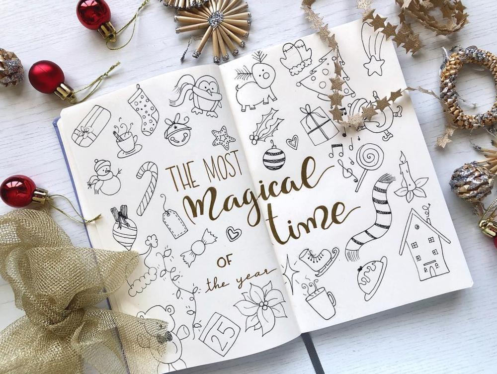 Cute Bullet Journal Christmas Doodles