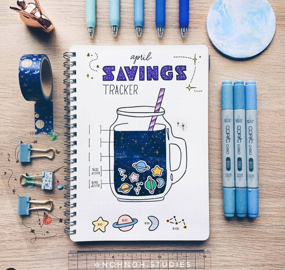 Savings Trackers for your Bullet Journal