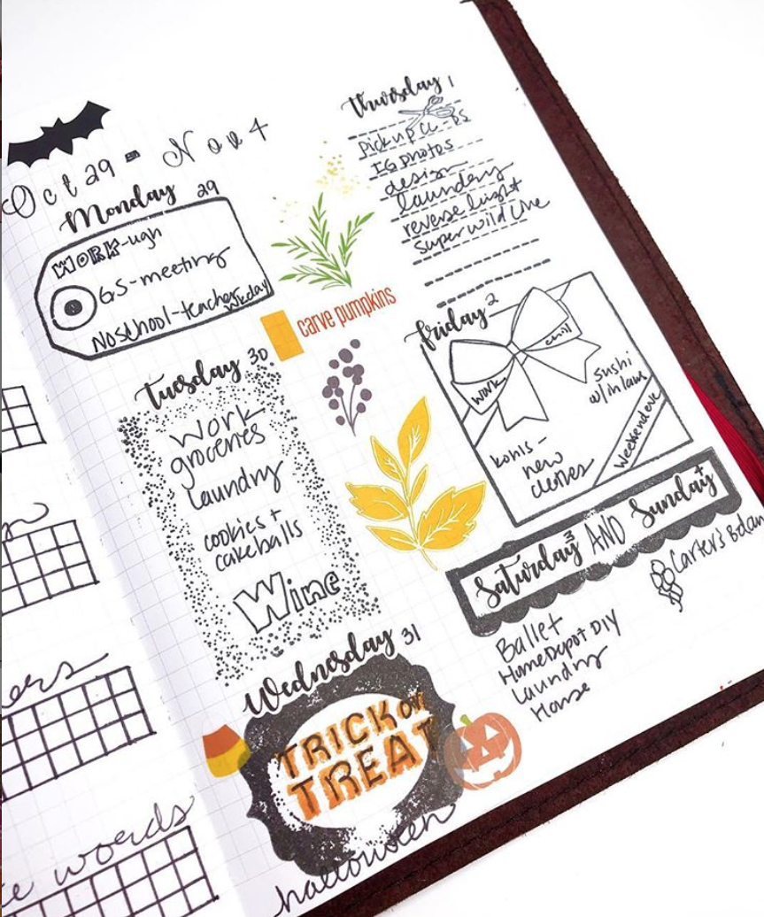 Bullet Journal Weeklies on One Page!
