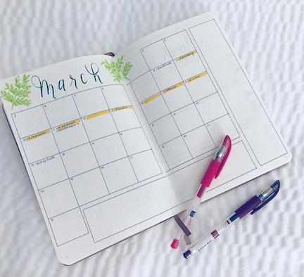 March Monthly Bujo Calendar Spreads