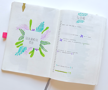 BUllet Journal Monthly Page Spread IDeas for March