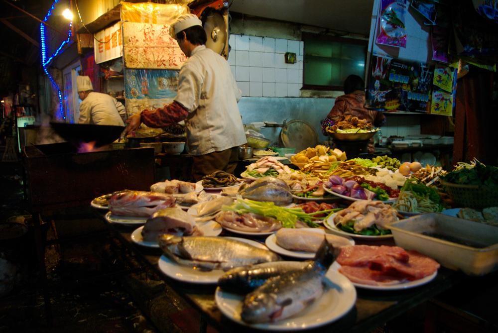 Fresh street food in the streets of Shanghai.