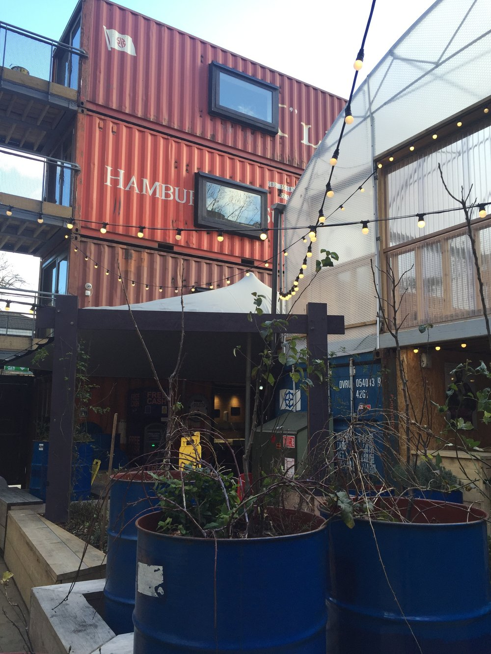 Site visit to Pop Brixton in London to get a feel for shipping containers.