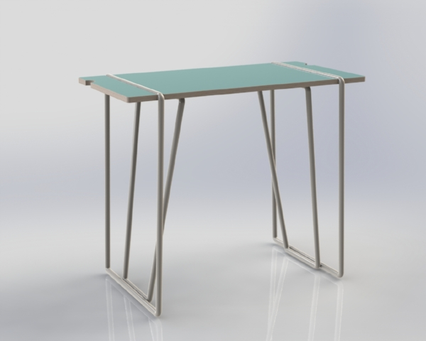 The table legs unclip underneath to be removed, and have the option to be powder coated in a bright colour.