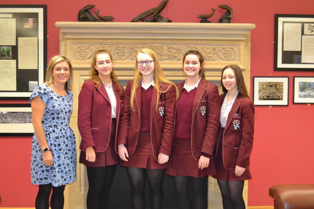Clare Brennan, Cara McCallin, Emily Crudden McIlhatton and Tara Moran with Mrs Cauley for Drama.JPG