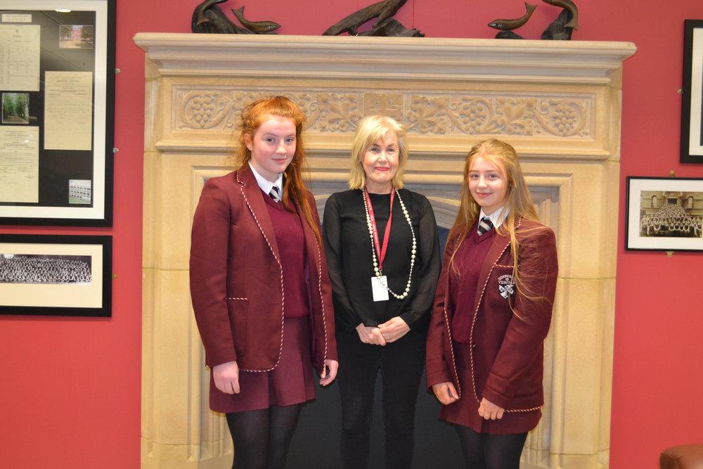Caoimhe Finucane and Emma Agnew with Mrs McCann for Irish.JPG