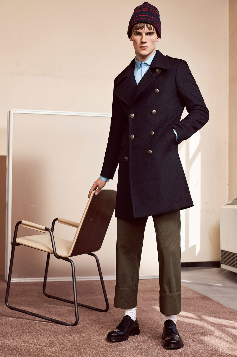 Military style coat, £159 Twill shirt, £25.99 Palazzo trousers, £29.99