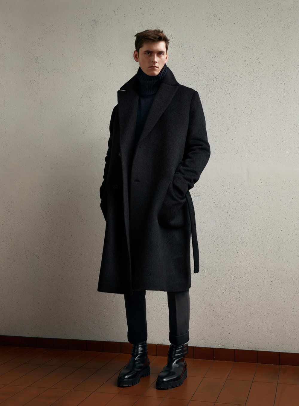 Studio wool coat, £149.99 Studio trousers, £39.99 Studio boots, £119.99