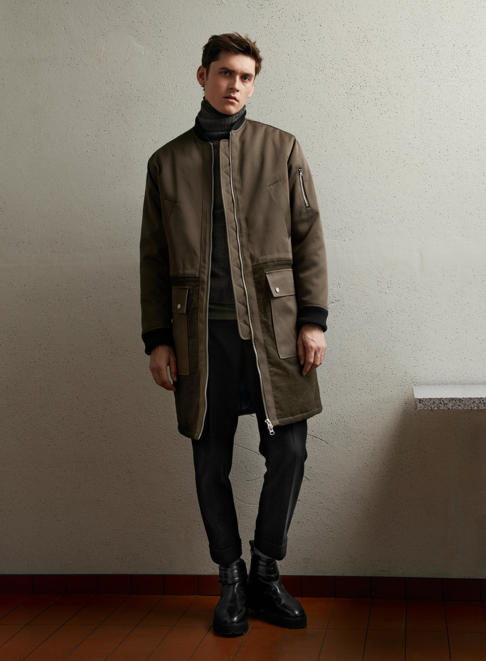 Studio coat, £79.99 Studio trousers, £39.99 Studio boots, £119.99