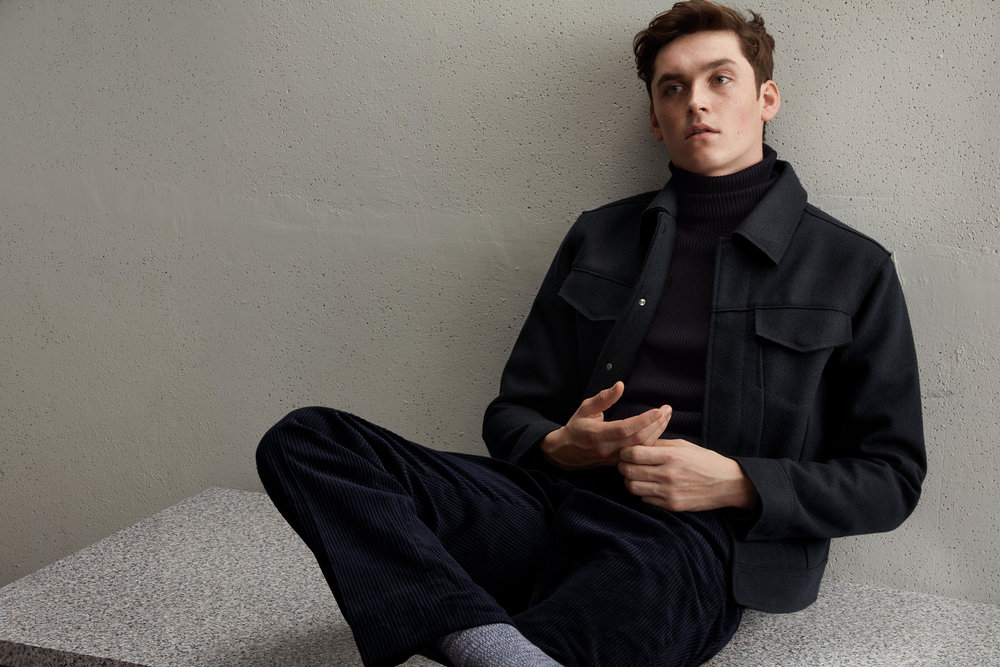 Studio jacket, £69.99 Studio turtleneck sweater, £49.99 Studio corduroy trousers, £29.99