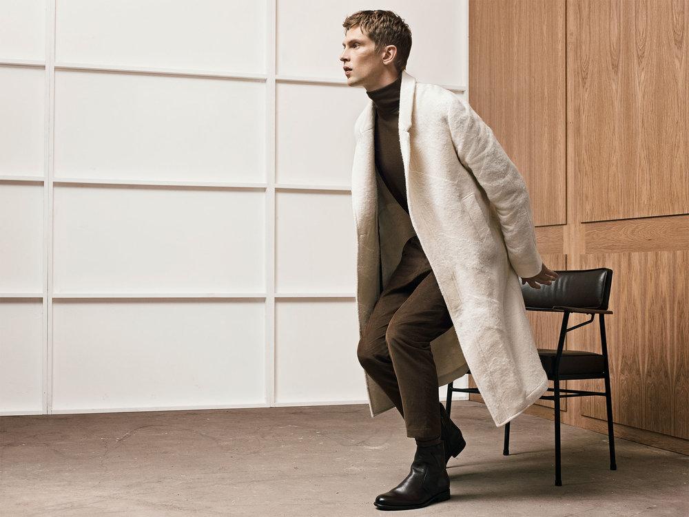 Studio overcoat , £119  Studio sweater , £45.99  Studio corduroy trousers , £49.99  Studio smart leather ankle boots , £69.99