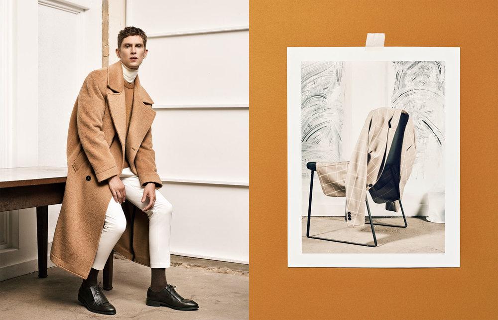 Studio overcoat , £159  Studio sweater , £59.99  Studio turtle neck sweater , £45.99  Studio trousers , £29.99  Studio suit , £99.99  Studio brown leather fringed shoes , £79.99