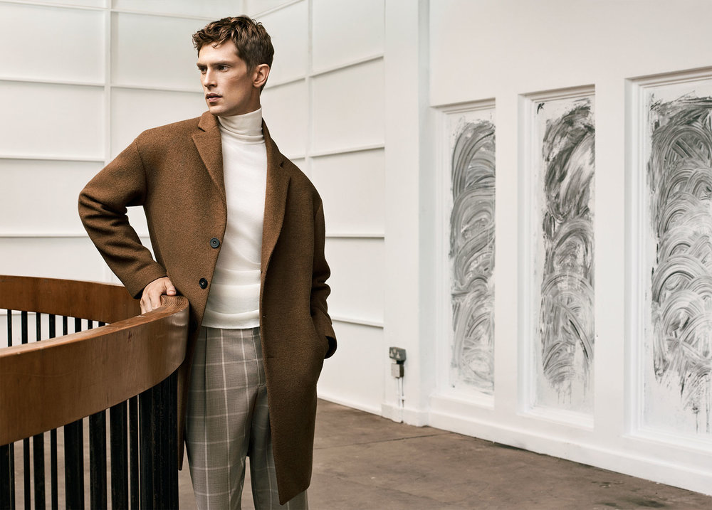 Studio overcoat , £119  Studio turtle neck sweater , £45.99  Studio trousers , £49.99