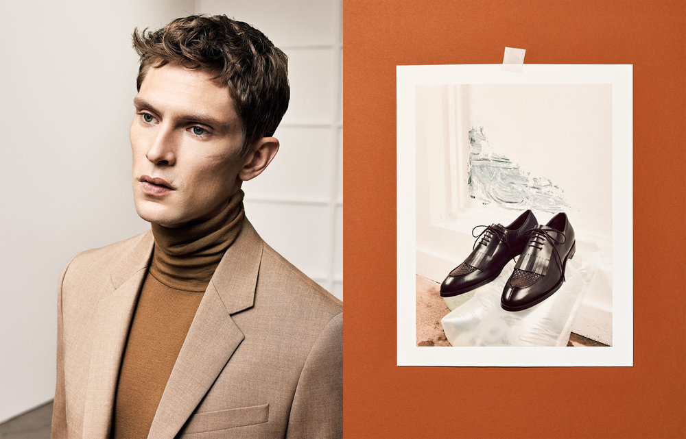 Studio suit, £99.99 Studio turtle neck sweater, £45.99 Studio trousers, £49.99 Studio brown leather fringed shoes, £79.99