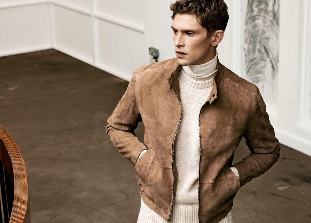 Studio suede jacket , £119  Studio sweater , £59.99  Studio turtle neck sweater , £45.99