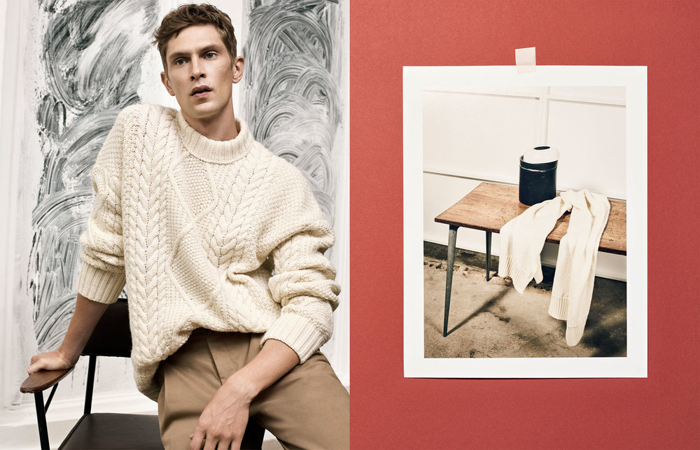 Studio knitted sweater, £59.99 Studio pleated trousers, £49.99 Studio scarf, £25.99