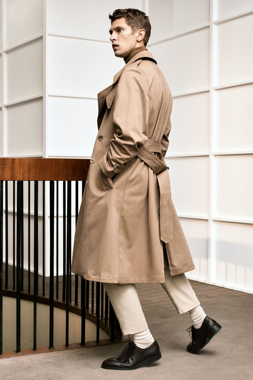 Studio trench coat, £119 Studio trousers, £49.99 Studio brown leather fringed shoes, £79.99