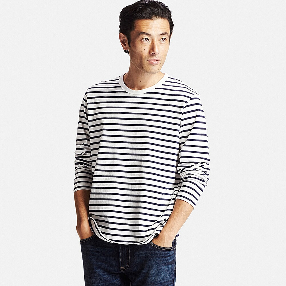 Washed striped crew-neck long-Sleeve t-shirt , £14.90