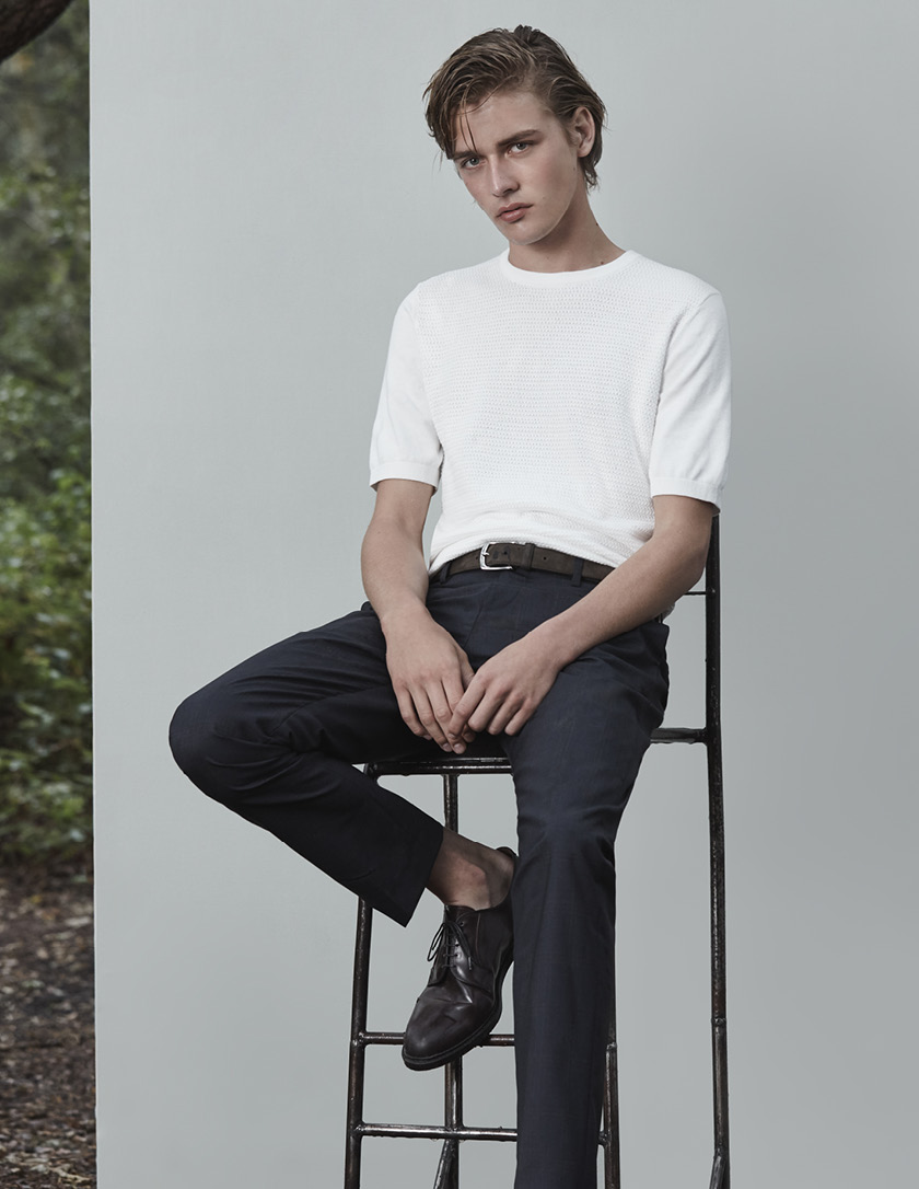 East textured knitted t-shirt , £60  George T slim-fit tailored trousers , £110