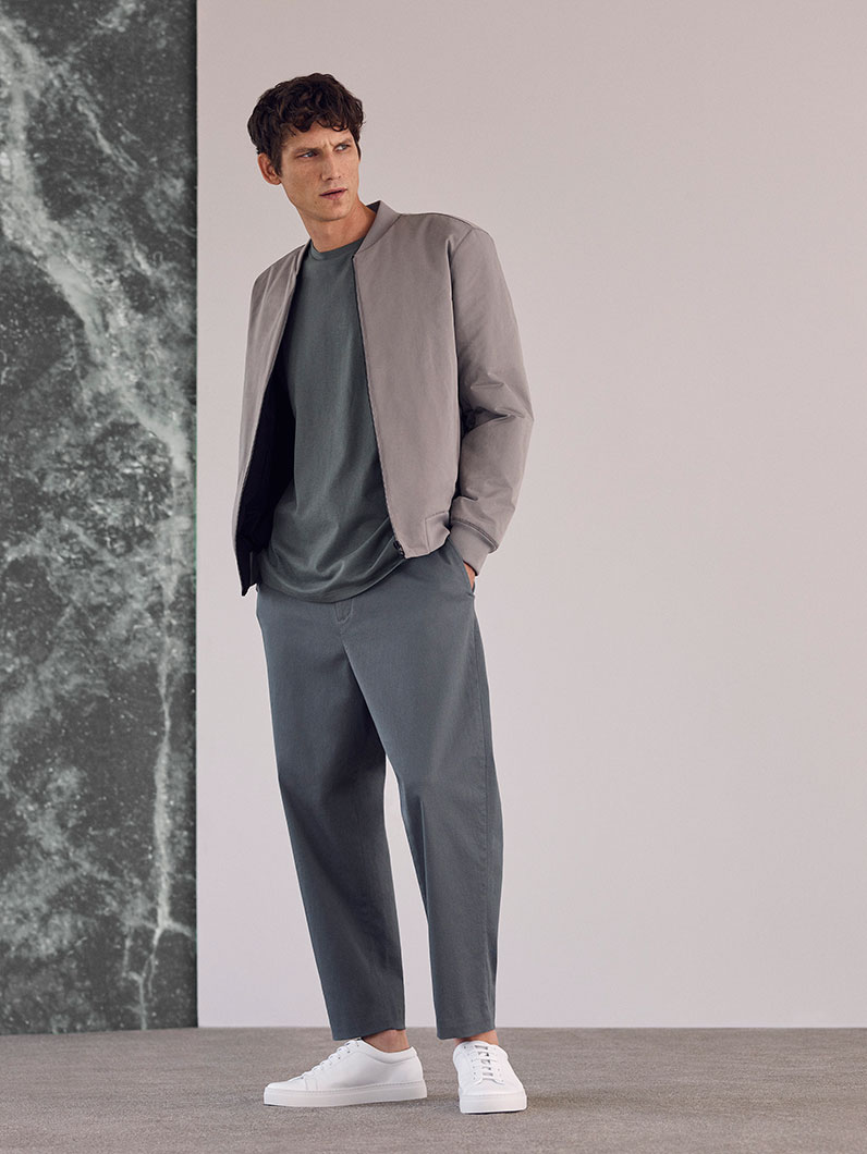 Padded zip-up jacket,£135 Oversized cotton jersey t-shirt, £19 Relaxed cotton trousers,£69 Lace-up leather sneakers, £79