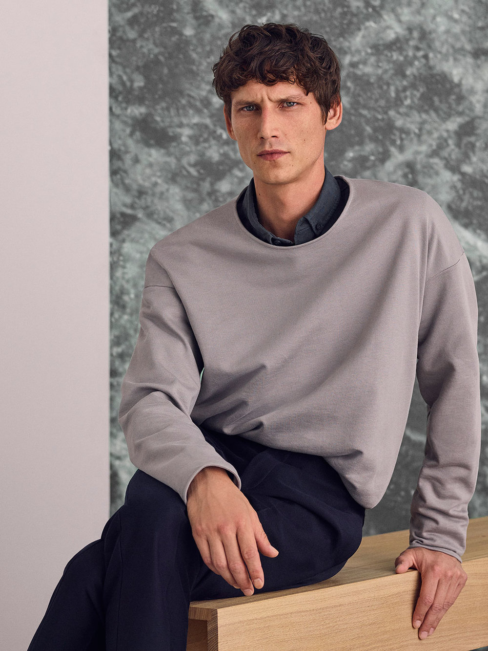 Rounded oversized sweatshirt, £45 Button collar shirt, £59 Slim-fit tailored trousers, £79