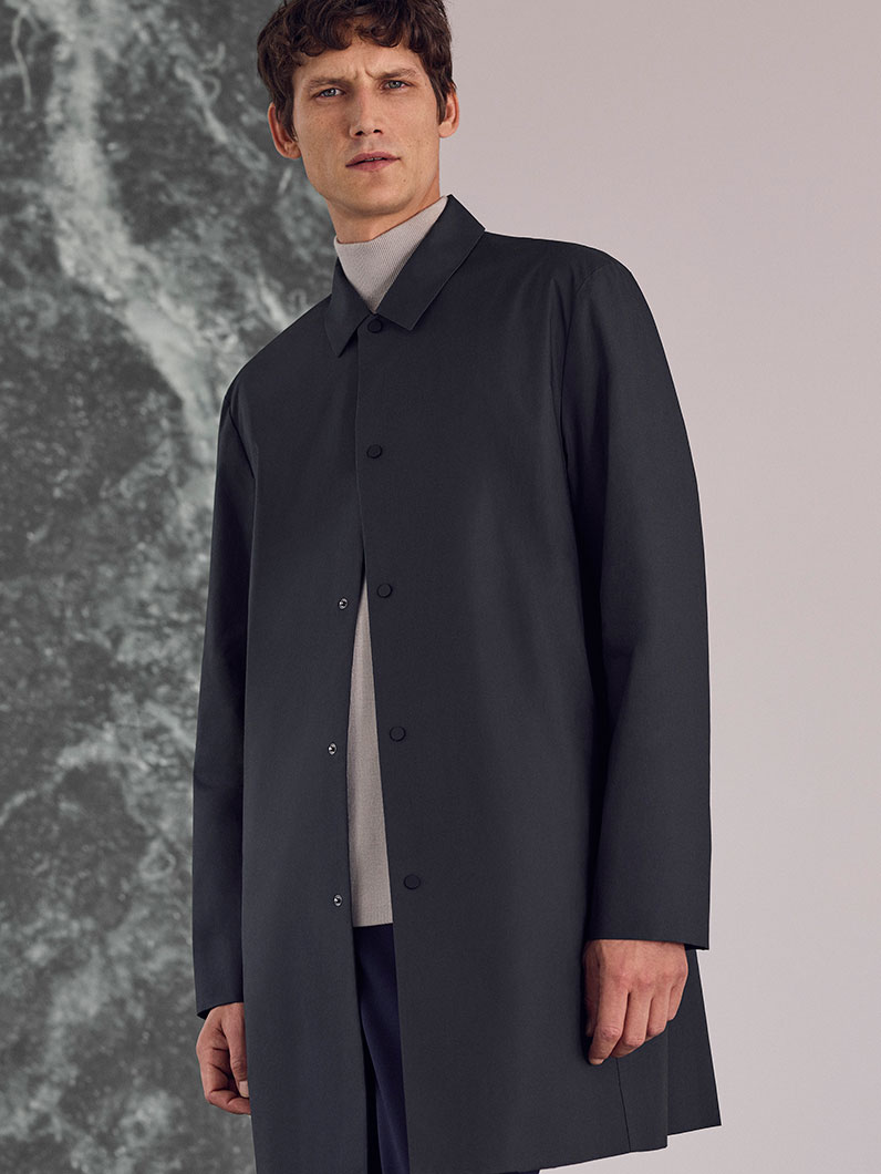 Lightweight mac , £89  Drop-shoulder high-neck jumper , £79  Lightweight wool trousers , £79