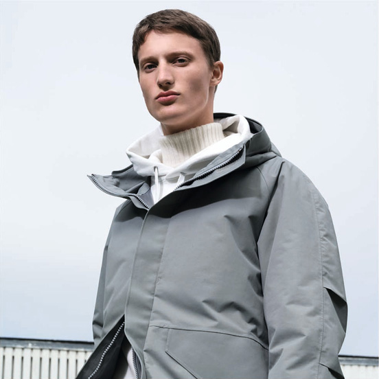 MEN U BLOCKTECH parka, £89.90 MEN U Cashmere blend turtle neck long sleeve sweater, £69.90