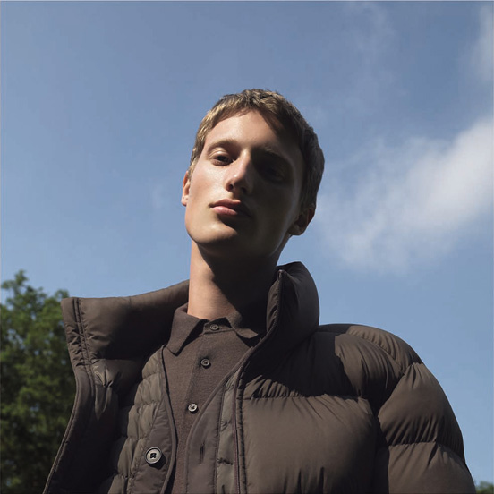 MEN U Light weight down jacket, £89.90 MEN U Ultra light down compact jacket, £69.90 MEN U extra fine merino knit polo long sleeve shirt, £34.90 MEN U Cotton twill elasticated pants, £29.90