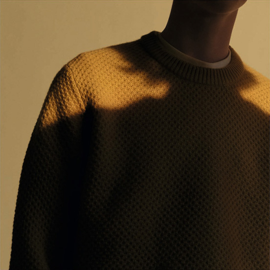 MEN U Lambswool crew neck long sleeve sweater Honey comb, £34.90