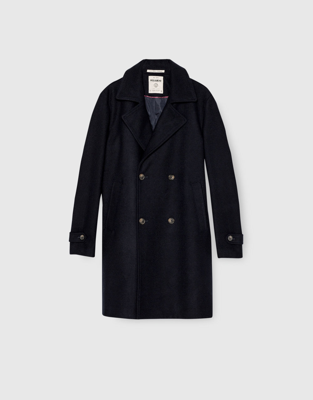 Double-breasted cloth coat, £89.99 (pullandbear.com)
