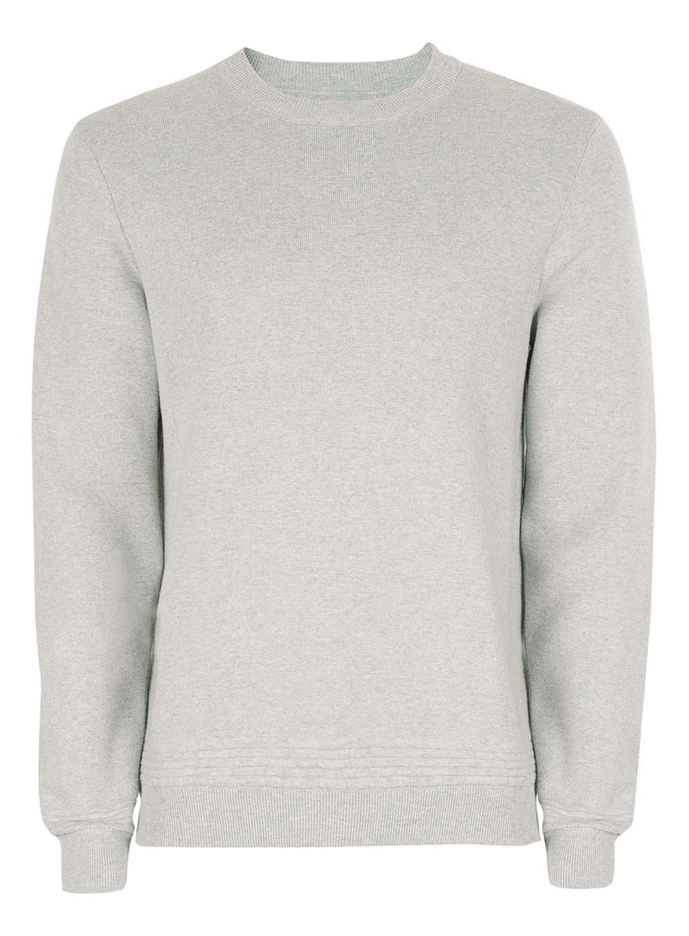 TOPMAN PREMIUM Grey Ribbed Crew Neck Jumper, £35
