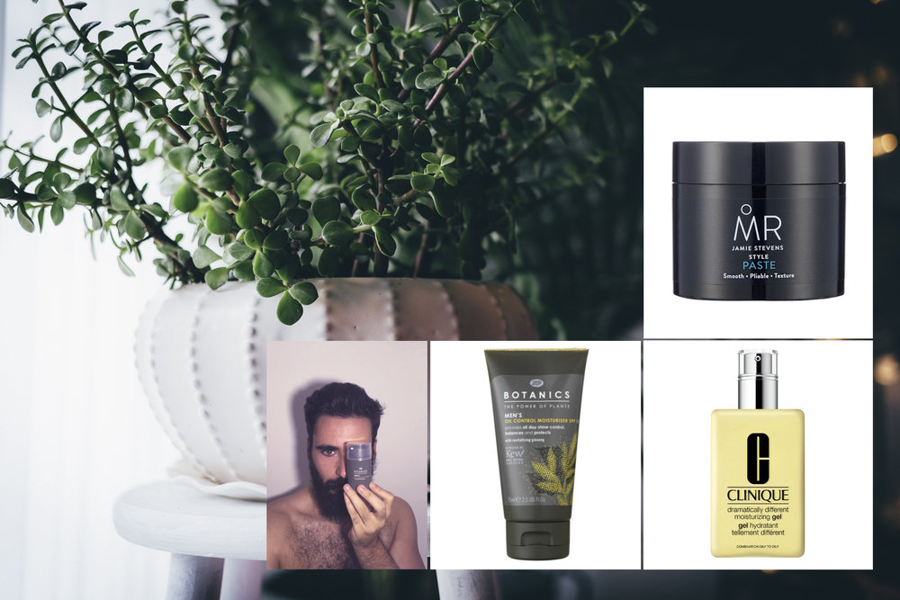 Jamie Stevens  MR. Style paste  (50ml, £10) Boots Botanics  Oil control moisturiser SPF 15 , (75ml, £3.99) Clinique  Dramatically different moisturising gel  (125ml, £30)