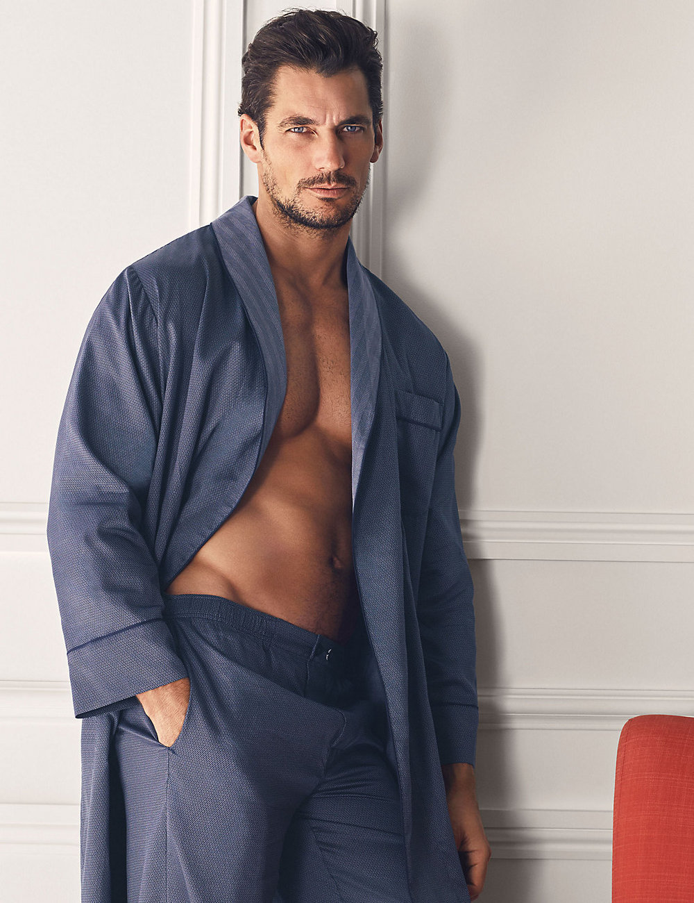 Pure cotton slim-fit dressing gown , £39.50  Supima® cotton slim-fit pyjamas , £27.50