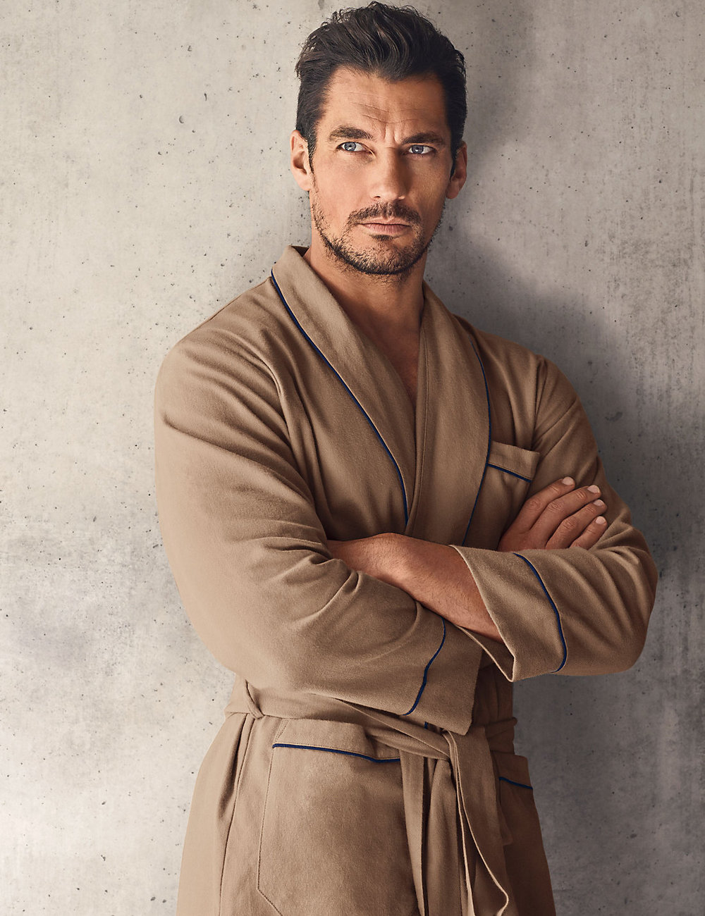 Supima® cotton luxury camel herringbone dressing gown , £39.50