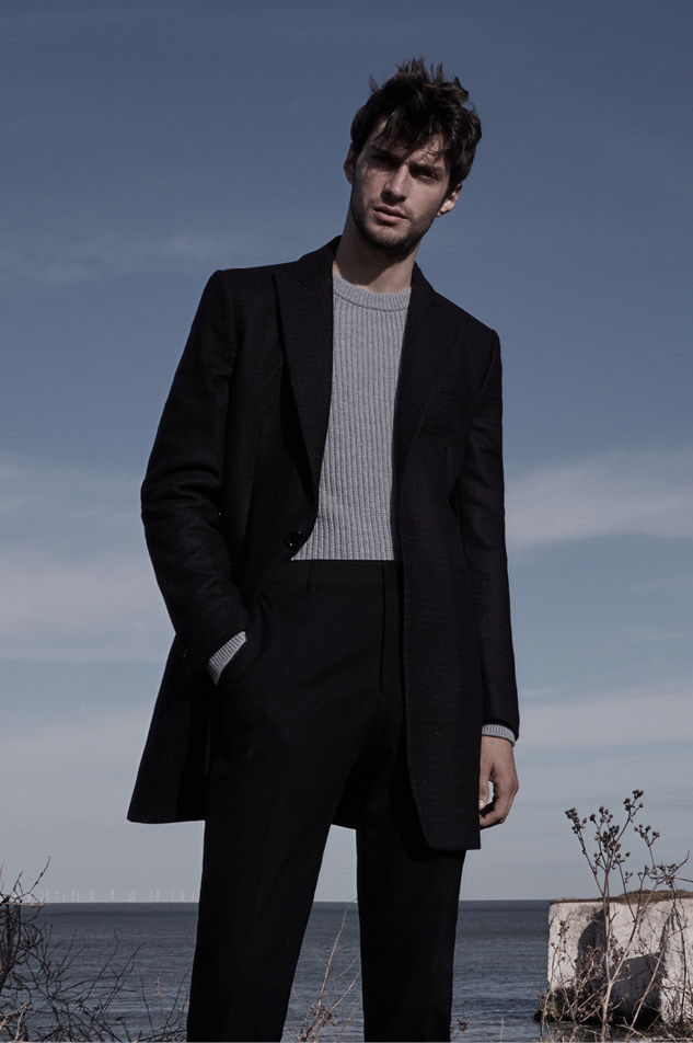 Bertie tonal check overcoat , £295  Jamie ribbed crew-neck jumper , £95  Boston slim-fit tailored trousers , £145