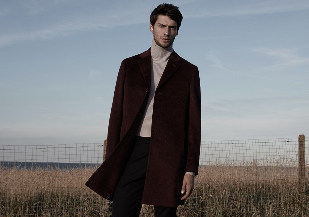 Angel wool epsom coat, £295 Tribal ribbed-knit roll-neck jumper, £95 Westbury slim-fit chinos, £95